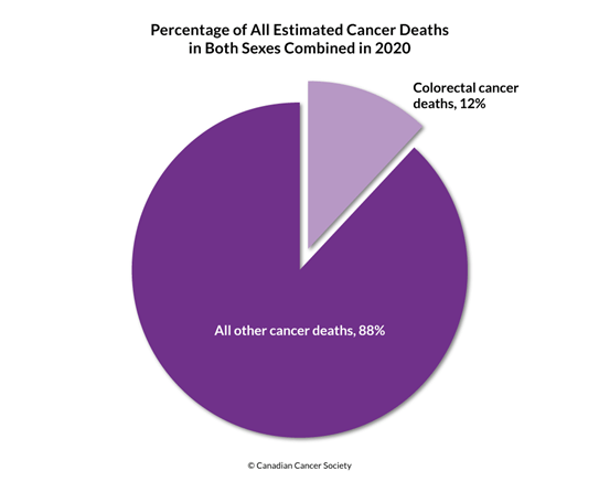 Diagram of the percentage of all estimated cancer deaths in both sexes combined in 2020