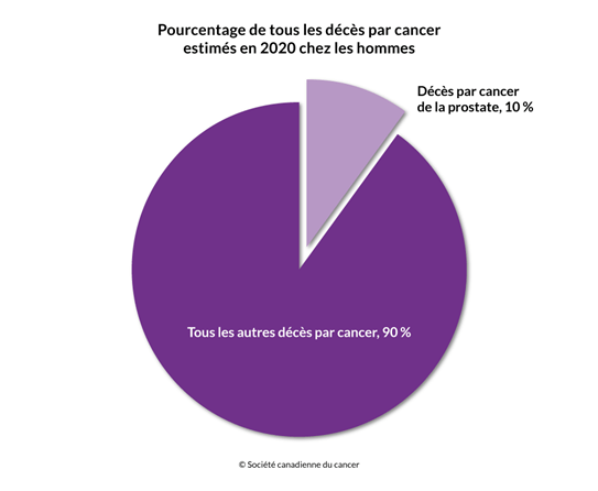 Schéma du pourcentage des décès par cancer estimés en 2020 incluant le cancer de la prostate