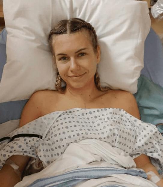 Meghan in her hospital bed