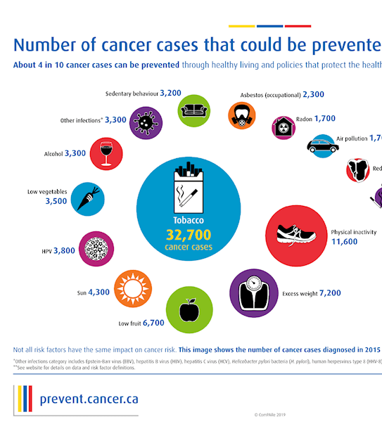An image displaying the number of cancer cases that could be prevented in Canada