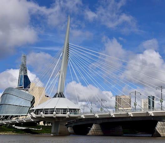 Bridge and skyline in Winnipeg, Manitoba