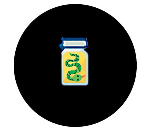 Jar with a snake in embalming fluid
