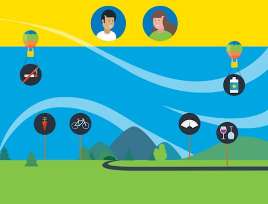 A cartoon graphic showing showing a trail and icons that represent cancer prevention