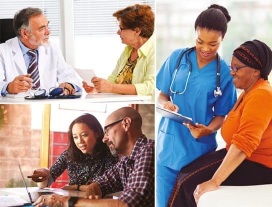 Trois images montrant un patient discutant avec son médecin.