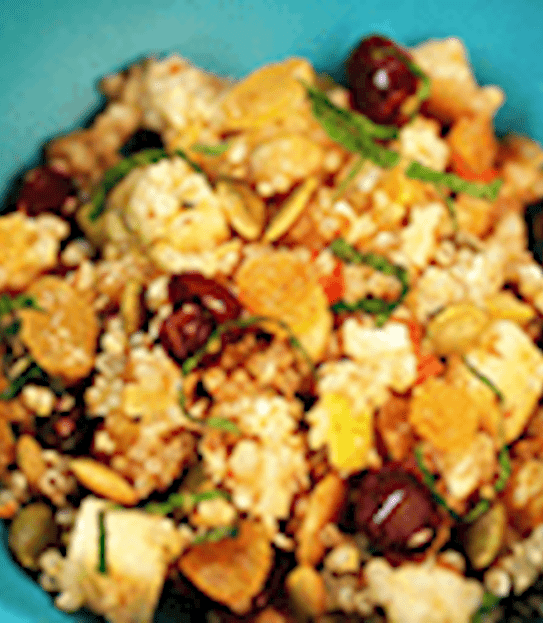 Nut and fruit quinoa salad