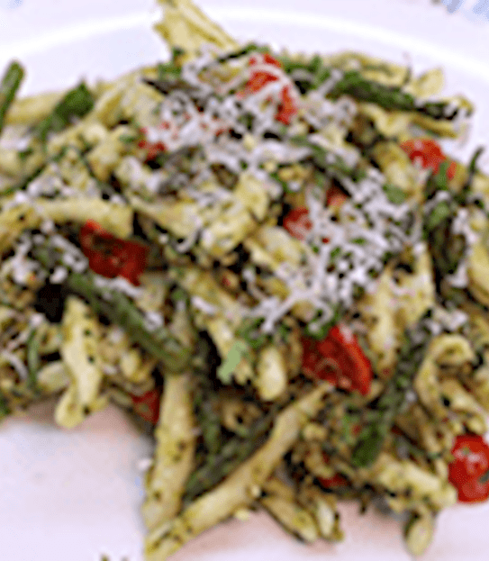 Pasta with roasted asparagus and almond pesto