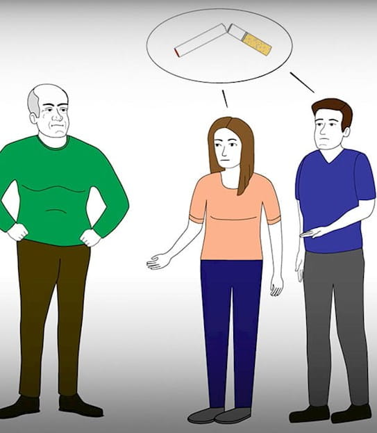 a cartoon graphic showing a young man and woman telling an older man to quit smoking
