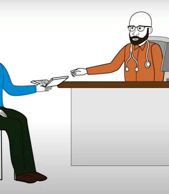 A cartoon image of a doctor handing a patient a book