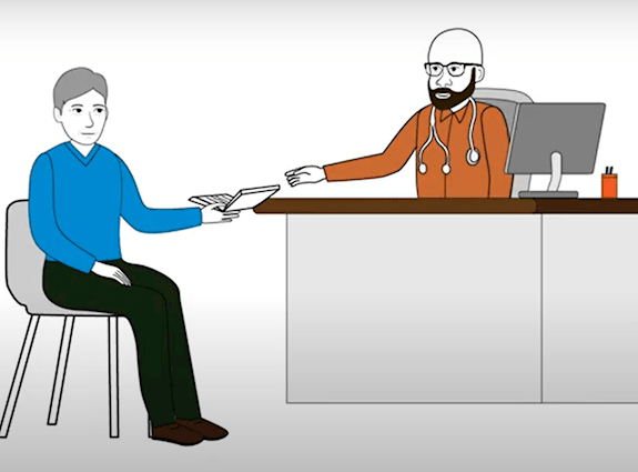 Image de bande dessinée montrant un médecin tendant un livre à un patient.