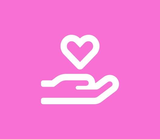 L'icône d'une main portant un cœur
