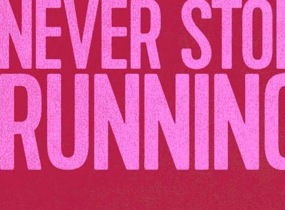 L'image d'un homme en train de courir près des mots « Rien ne nous arrête » sur le bandeau.