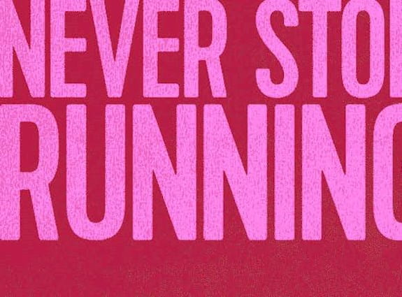 A banner image of a man running next to the words 'never stop running.