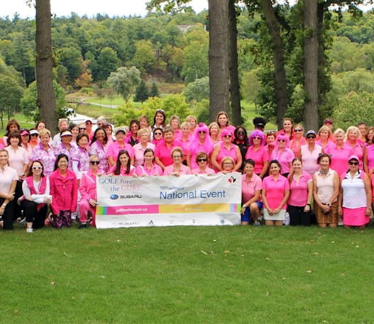 Golf Fore the Cure participants wearing pink