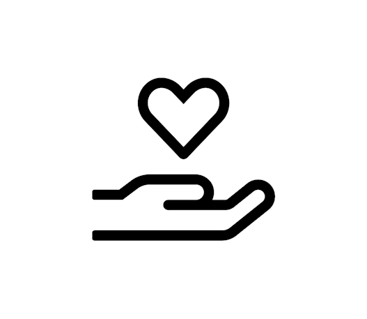 An icon of a hand holding a heart.
