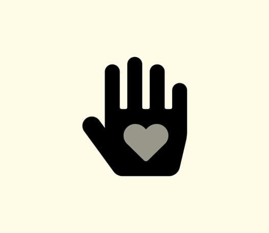 Représentation d'une main avec un cœur au centre