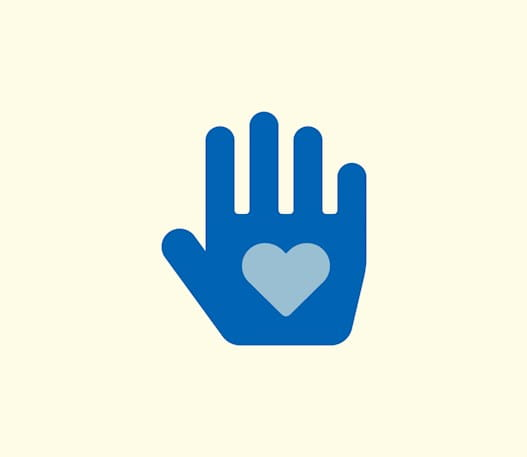 An icon of a hand with a heart in the center.