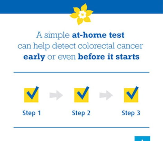 """An infographic that says, """"A simple at-home test can help detect colorectal cancer early or even before it starts."""""""