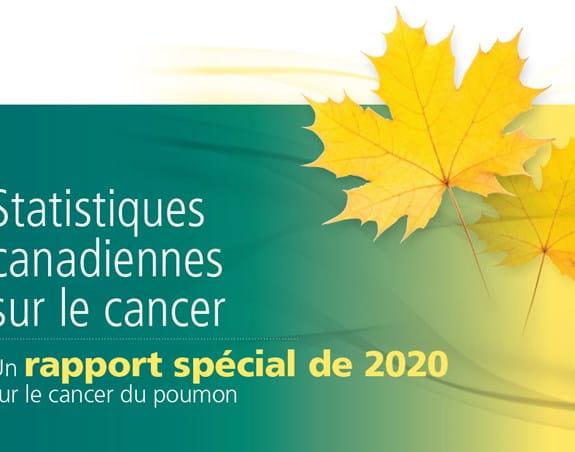 Une photo de couverture du rapport spécial 2020 de Statistiques canadiennes sur le cancer sur le cancer du poumon