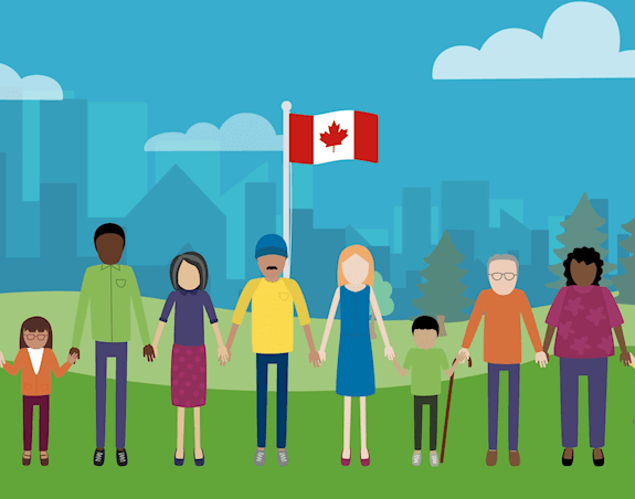 10 people stand in front of a Canadian flag and cityscape holding hands