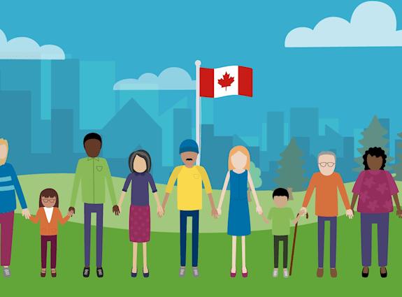 10 personnes se tenant la main debout devant un drapeau canadien et un paysage urbain