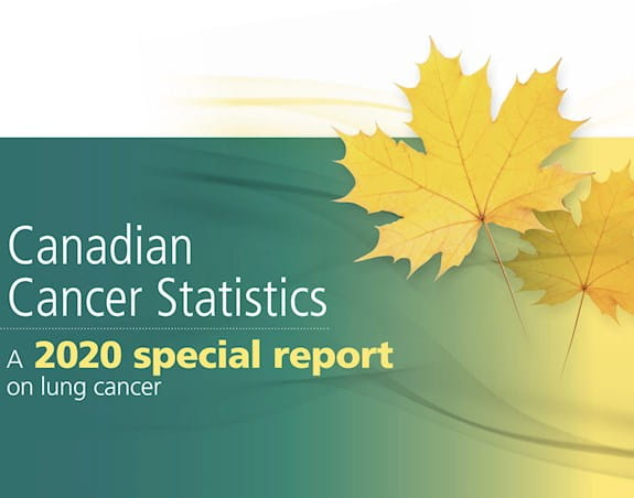 A cover photo of the Canadian Cancer Statistics 2020 special report on lung cancer