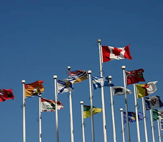 The Canadian flag and all provincial flags waving against a blue sky