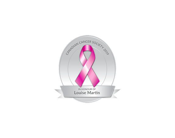 A digital pink ribbon in honour of Louise Martin.