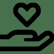 L'icône d'une main tenant un cœur