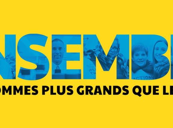 Un bandeau jaune où figurent les mots « Ensemble nous sommes plus grands que le cancer.»